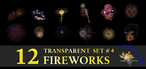 12 Transparent Fireworks Clipart Set 4