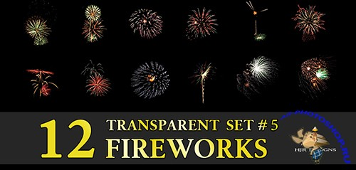 12 Transparent Fireworks Clipart Set 5
