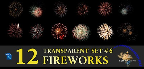 12 Transparent Fireworks Clipart Set 6