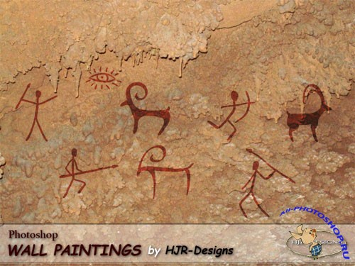 8 Prehistoric Wall Paintings Photoshop Brushes