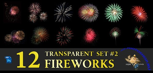 12 Transparent Fireworks Clipart Set 2
