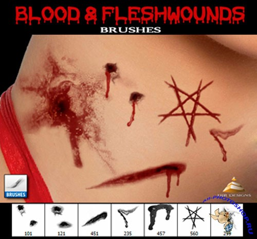 Blood and Fleshwounds Photoshop Brushes