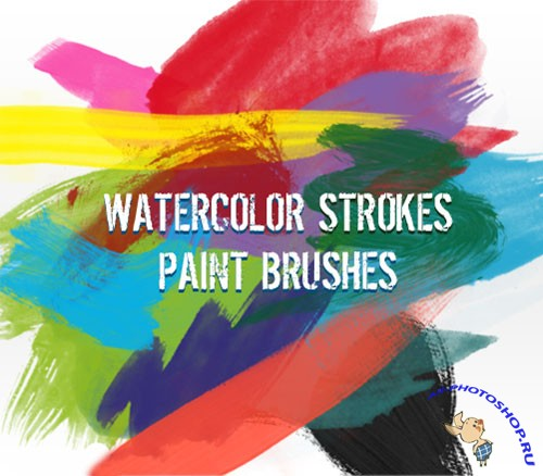 Watercolor Strokes Paint Photoshop Brushes