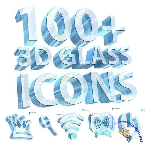 100 3D Glass PNG Icons
