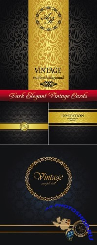 Dark Elegant Vintage Cards Vector