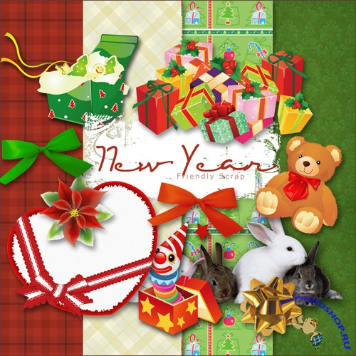 Scrap-set - New Year MIX Atributes And Papers