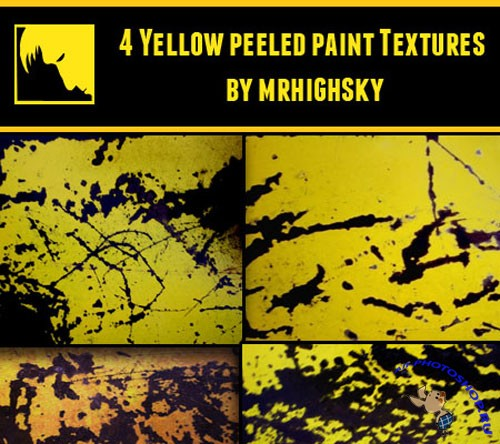 4 Yellow Peeled Paint Textures