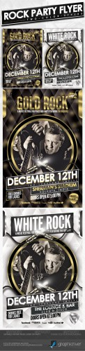 GraphicRiver - Rock Party Flyer - Gold & White (Psd Template) 3186134