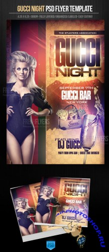Gucci Night Party Flyer/Poster PSD Template