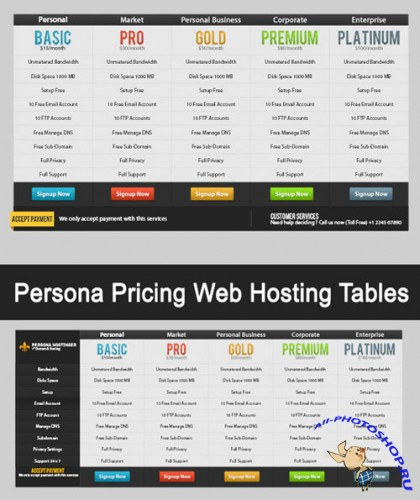 Persona Pricing Web Hosting Tables PSD Template