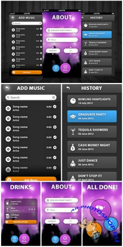 5 Style Menu Iphone App UI PSD Template