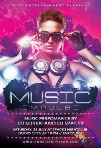 Music Impulse Party Flyer/Poster PSD Template