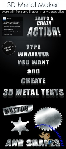 3D Metal Text Photoshop Action and Shapes REUPLOAD
