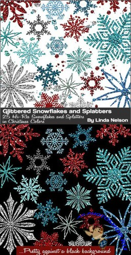 25 Glitter Snowflakes Photoshop Brushes