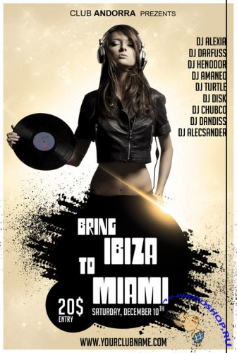 Bring Ibiza to Miami Party Flyer/Poster PSD Template