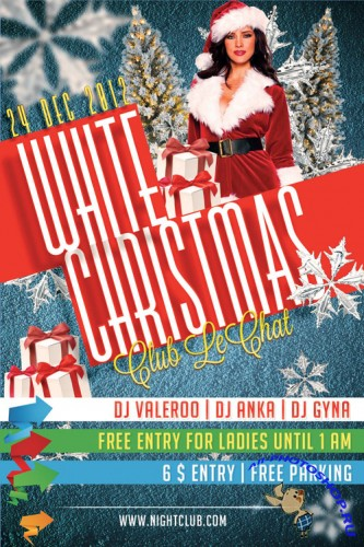White Christmas Party Flyer/Poster PSD Template #2