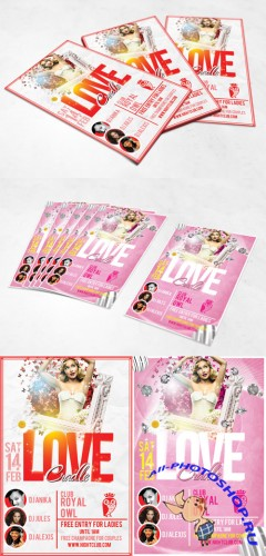 Love Cradle Valentine's Day Party Flyer/Poster PSD Template