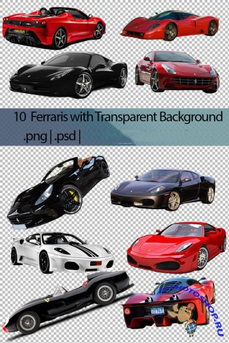 10 Ferraris Cliparts PSD Template