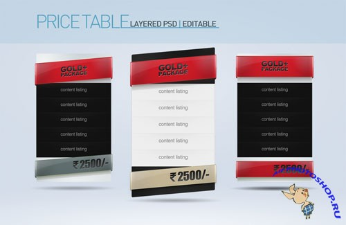 Price Table PSD Template