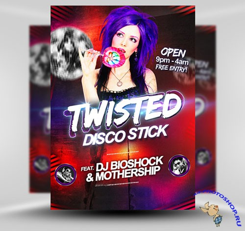 Twisted Disco Party Flyer/Poster PSD Template