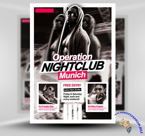 Operation Nightclub Party Flyer/Poster PSD Template