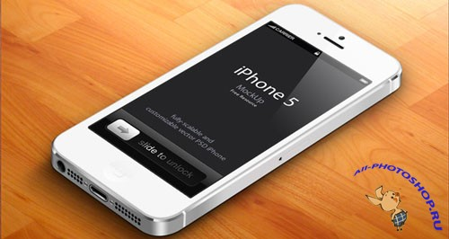 3D iPhone 5 Vector Mockup PSD Template #2