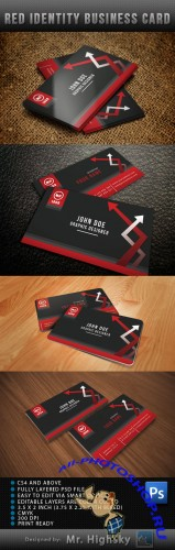 Red Identity Business Card PSD Template