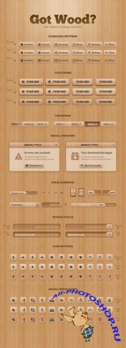 Got Wood UI Design Elements PSD Template