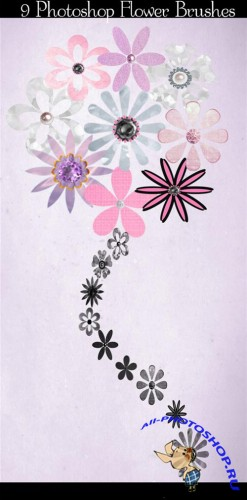 9 Flower Photoshop Brushes and Cutouts