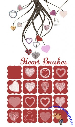 14 Heart Photoshop Brushes and Cutouts