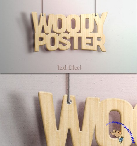 Woody Text Effect PSD Template