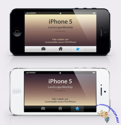 iPhone 5 Landscape Mockup PSD Template