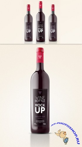 Wine Bottle Mockup PSD Template