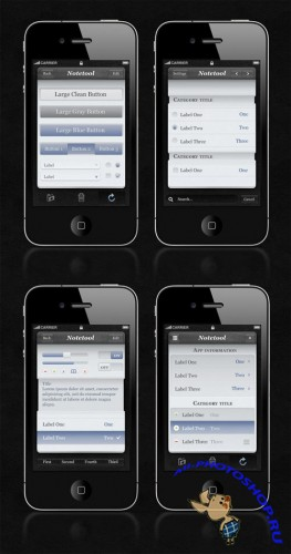 Notetool iPhone App UI Kit PSD Template