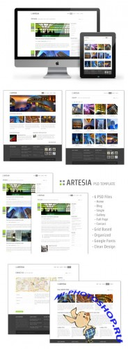 WeGraphics - Artesia – A Free Website PSD Template