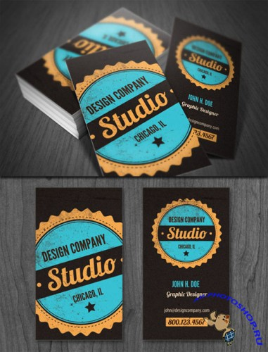 WeGraphics - Vintage Badge Business Card Template