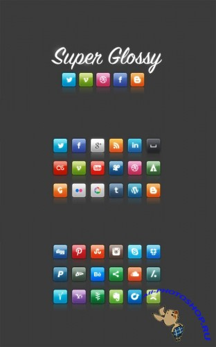 WeGraphics - Super Glossy Social Media Icons