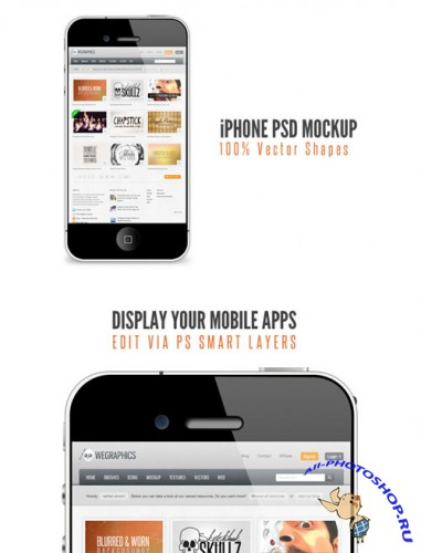 WeGraphics - iPhone PSD Mockup