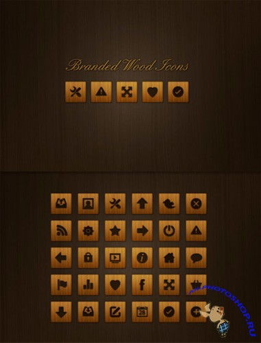 WeGraphics - 30 Branded Wood Icons
