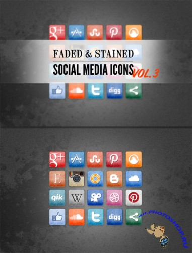WeGraphics - Stained and Faded Social Media Icons Vol 3