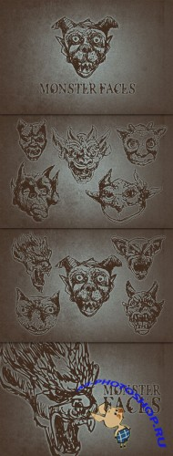WeGraphics - Hand Drawn Monster Faces Vector Set