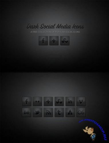WeGraphics - Dark Social Media Icons