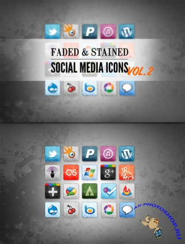 WeGraphics - Stained and Faded Social Media Icons Vol 2