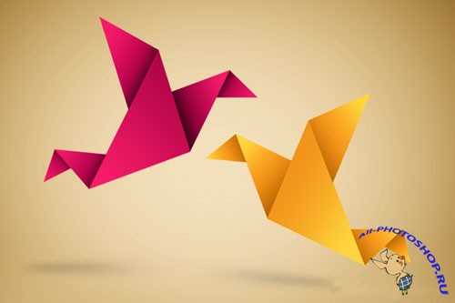 Origami Symbolic Vector Illustration PSD Template