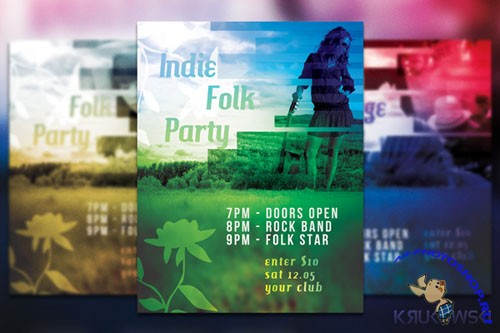Folk Party Flyer/Poster PSD Template