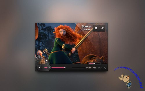 Pixeden - Dark UI Video Player Design Psd