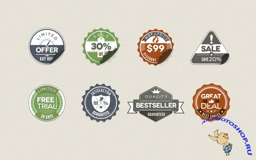 Pixeden - Psd Modern Vintage Stickers Badges