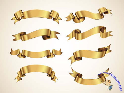 Pixeden - Golden Decorative Vector Ribbons Set