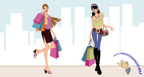 Pixeden - Fashion Shopping Girls Vector Art