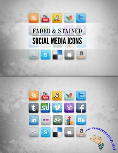 WeGraphics - Stained and Faded Social Media Icons